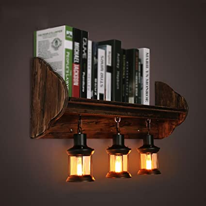 MILUCE Retro Restaurant Industrial Wind Creative Bedroom Bedside Solid Wood Decorative Bookshelf Wall Lamp