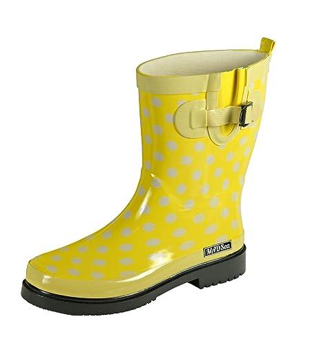 new style 5b4f6 4cc70 MADSea Damen Gummistiefel Ocean gelb Punkte Halbschaft Regenstiefel