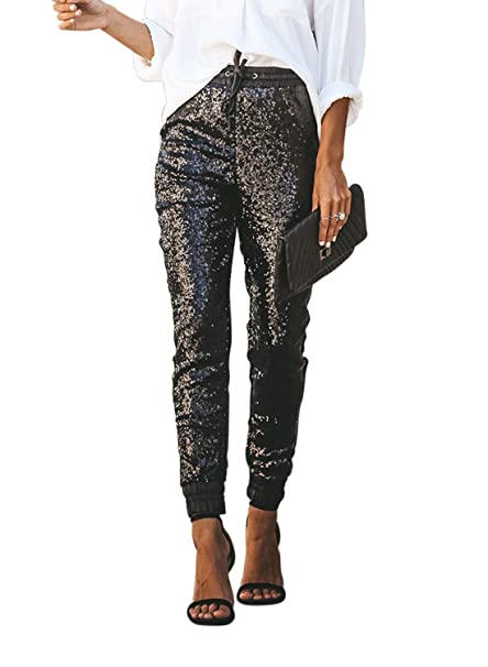 37d04a8df2f GOSOPIN Womens Sequin Flared Trousers High Waisted Casual Loose Glitter  Maxi Pants  Amazon.co.uk  Clothing