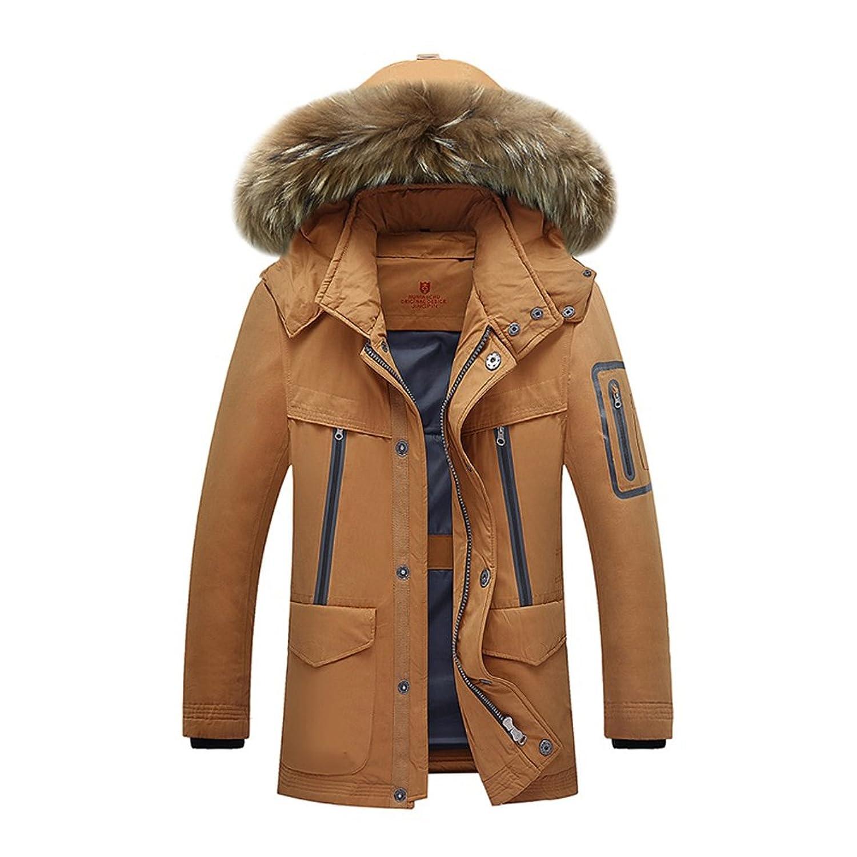 Brinny Männer Winter Warme Jacke mit Fellkapuze Daunenjacke Baumwolle Gefütterte Kurzmantel
