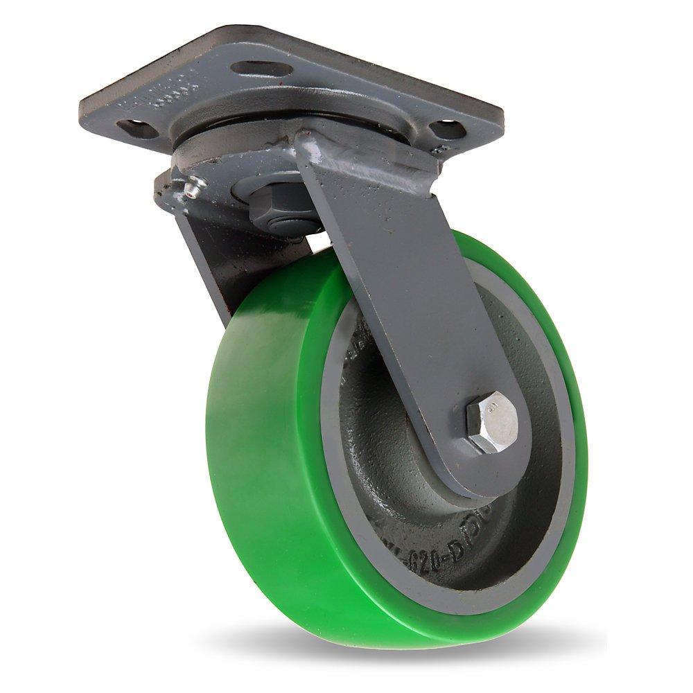 Hamilton Workhorse Caster - 6''Dia.X2''W Duralast Polyurethane Wheel - 1200-Lb. Capacity - -1/2'' Sealed Precision Ball Bearings - Swivel - Green