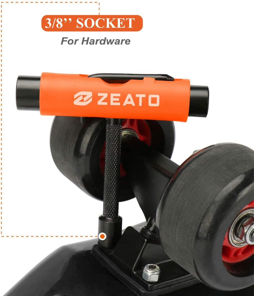 Zeato All-in-One Skate Tools Multi-Function Portable Skateboard T Tool Accessory with T-Type Allen Key and L-Type Phillips Head Wrench Screwdriver