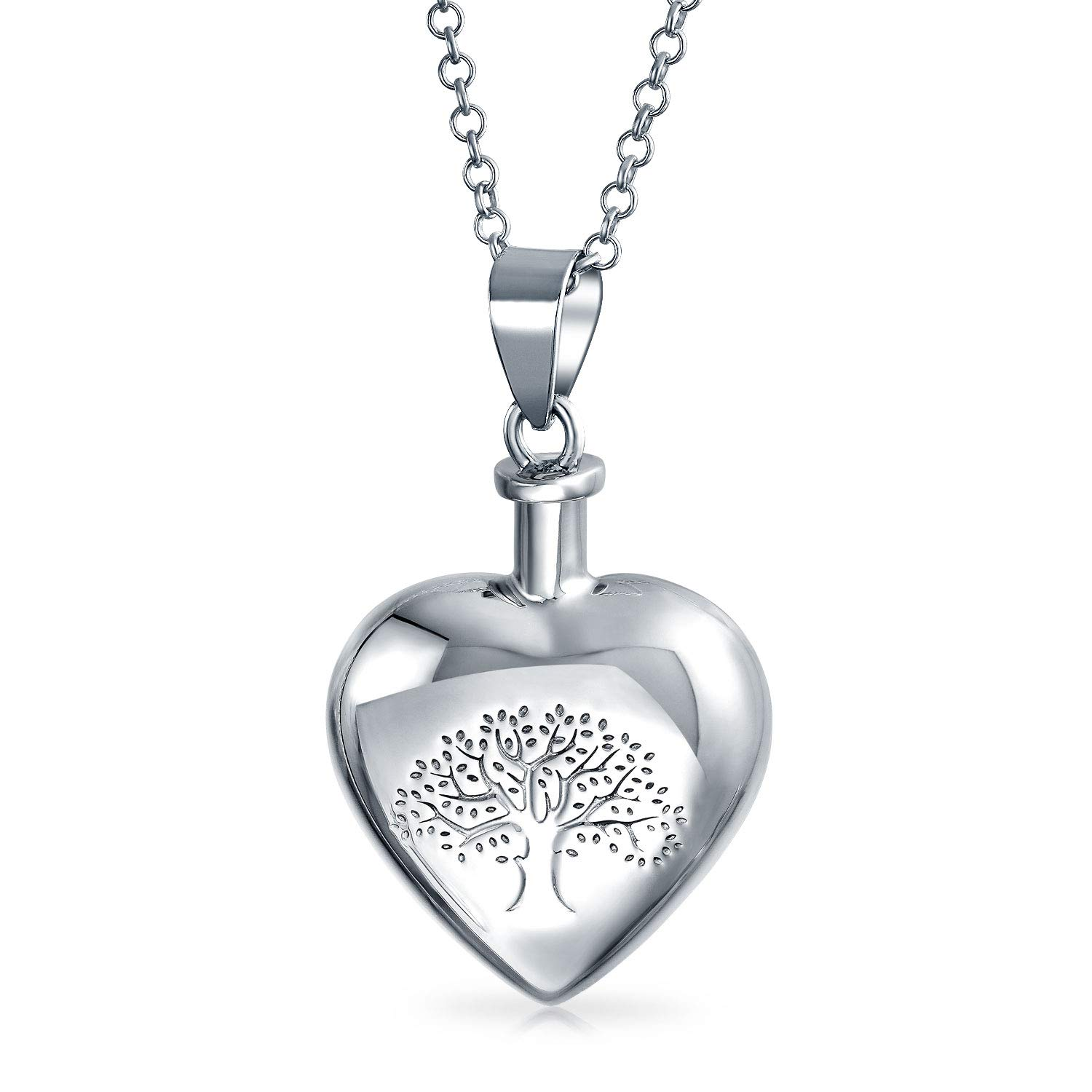 Personalized Heart Shape Family Tree Cremation Locket Memorial Urn Pendant Necklace Sterling Silver Custom Engraved