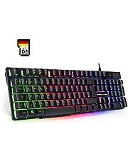 Empire Gaming PC-Tastatur Empire K300 QWERTZ– 105 halbmechanische Tasten, davon 19 Anti-Ghosting-Tasten, 12 Multimedia-Shortcuts, LED-RGB-Rückbeleuchtung