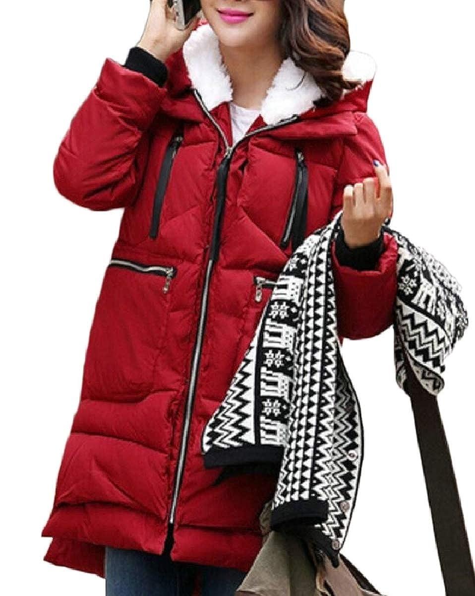 LEISHOP Women's Winter Fleece Plus Size Thick Hooded Mid Long Down Jacket Coat 15 L