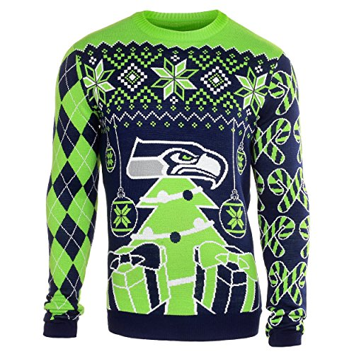 NFL Football Mens Ugly Holiday Christmas Tree & Ornament Sweater - Pick Team (Seattle Seahawks, Medium)