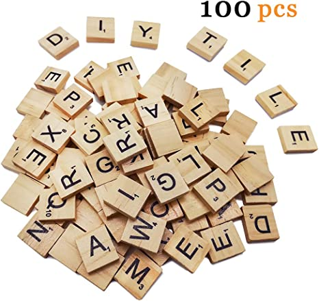 Wooden Alphabet Letters Scrabble Tiles Set Wood Letters Blocks for Crafts Game Spelling Decorations 100 Pieces