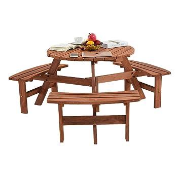 Keinode Table de Pique-Nique Ronde en Bois avec Banc de 8 Places ...