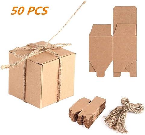Zerodis 50pcs Cajas de Cartón Kraft para, 5x5x5cm Cajas de Papel ...