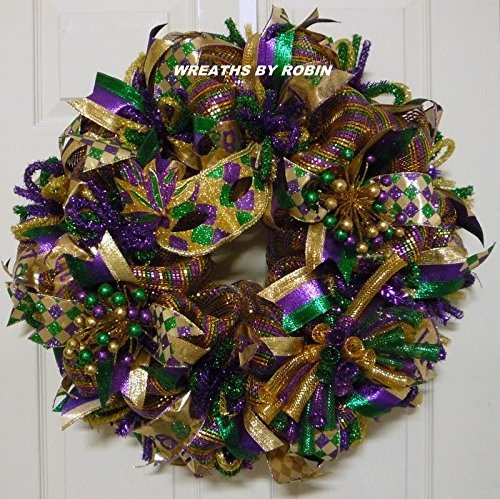 Mardi Gras Mask Wreath, Mardi Gras Decorations, Mardi Gras Decor, Fat Tuesday (2434)