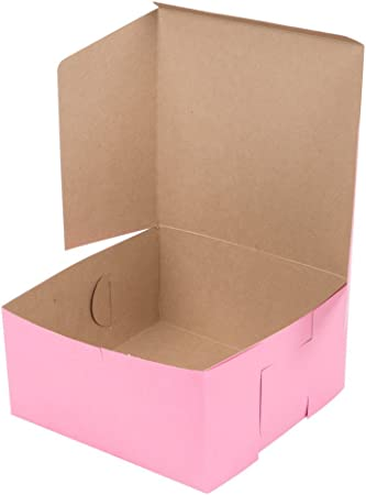Rosa Donut caja 10 x 10 x 5 cm – 10 unidades – Eco-friendly cartón panadería Take Out cajas de regalo para pastas, galletas, Cupcakes, y más (10, 10 x 10 x 5) por California contenedores...: Amazon.es: Hogar