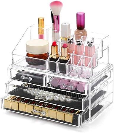 LDG Joyería Caja Almacenamiento, Acrílico Cosmético Las Cremas, Barras De Labios Organizador Maquillaje (4 Cajones Claros): Amazon.es: Hogar