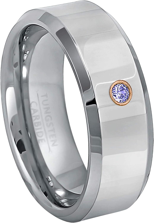 December Birthstone Ring 0.07ct Tanzanite Tungsten Ring Jewelry Avalanche 8MM Polished Beveled Edge Tungsten Carbide Wedding Band
