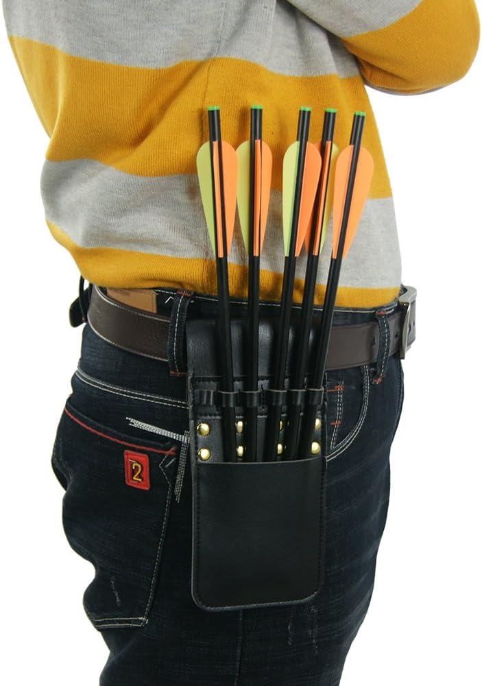 QD D&Q Soporte de Flecha de Cuero para Guardar Objetos de Arco Cruzado Negro