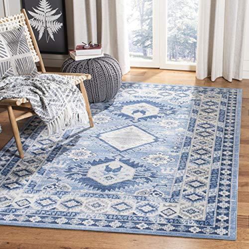 Safavieh KZK119D-9 Kazak Collection KZK119D Blue and Creme Area (9' x 12') Rug, (Collection Rug Kazak)