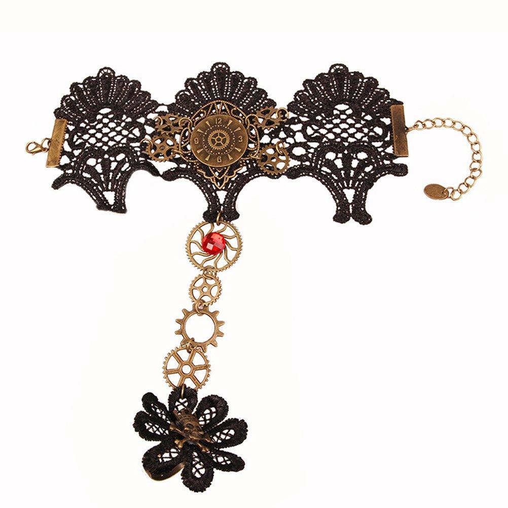 Fenical Bracciale in pizzo di Halloween con anello Set Steampunk Bracciale in scheletro con anello per la festa di Halloween