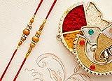 Set of 2 Rakhi Thread for Brother Bhaiya with Multicolor Beads Traditional Rakshabandhan Rakhee Bracelet (Design 8)