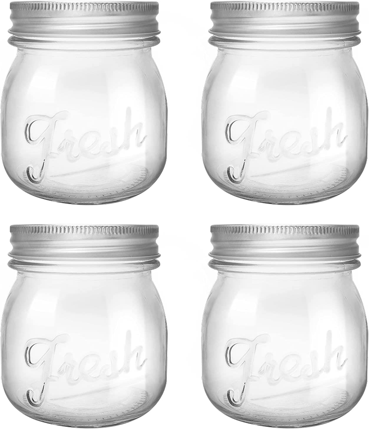 YNB.BEAUSEL Glass Mason Jar 8 oz Regular Mouth Canning Jars 4 Pack with Silver Metal Airtight Lids for Meal Prep, Pickling, Food Storage, Canning, Drinking, Overnight Oats, Jelly, Jam, Honey, Dry Food, Salads, Yogurt, Decorating