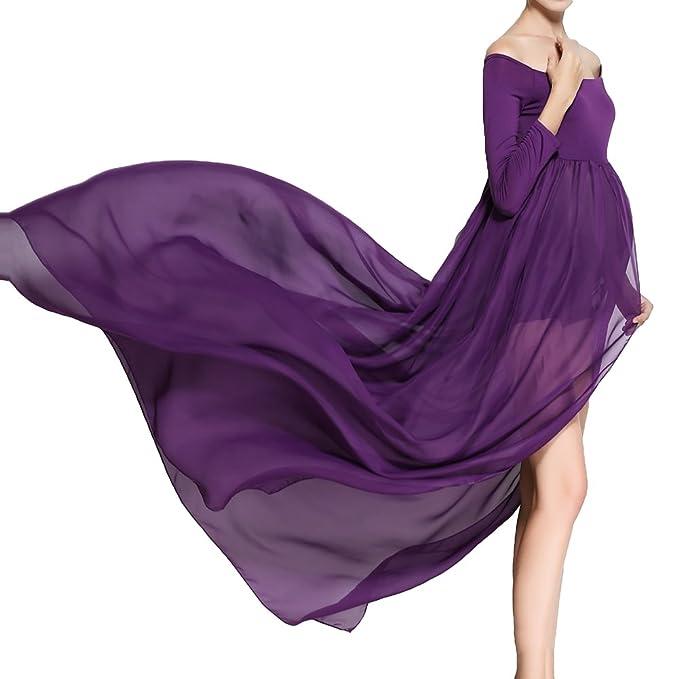 Vestidos de maternidad para mujer - Fuera del hombro, gasa, vestidos largos para embarazadas