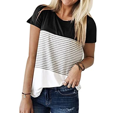 257ea396b54 Yying Women Short Sleeve Blouse - Fashion Striped Loose Fit Shirt Elegant  Spliced Color Tunic Casual Summer T-Shirt Workwear Tops Plus Size   Amazon.co.uk  ...