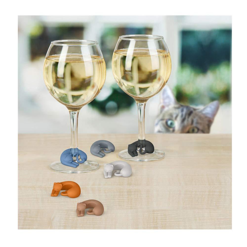 12 pz Segnabicchieri Silicone Marcatore per Bicchieri a forma di gatti colorati Colore Casuale