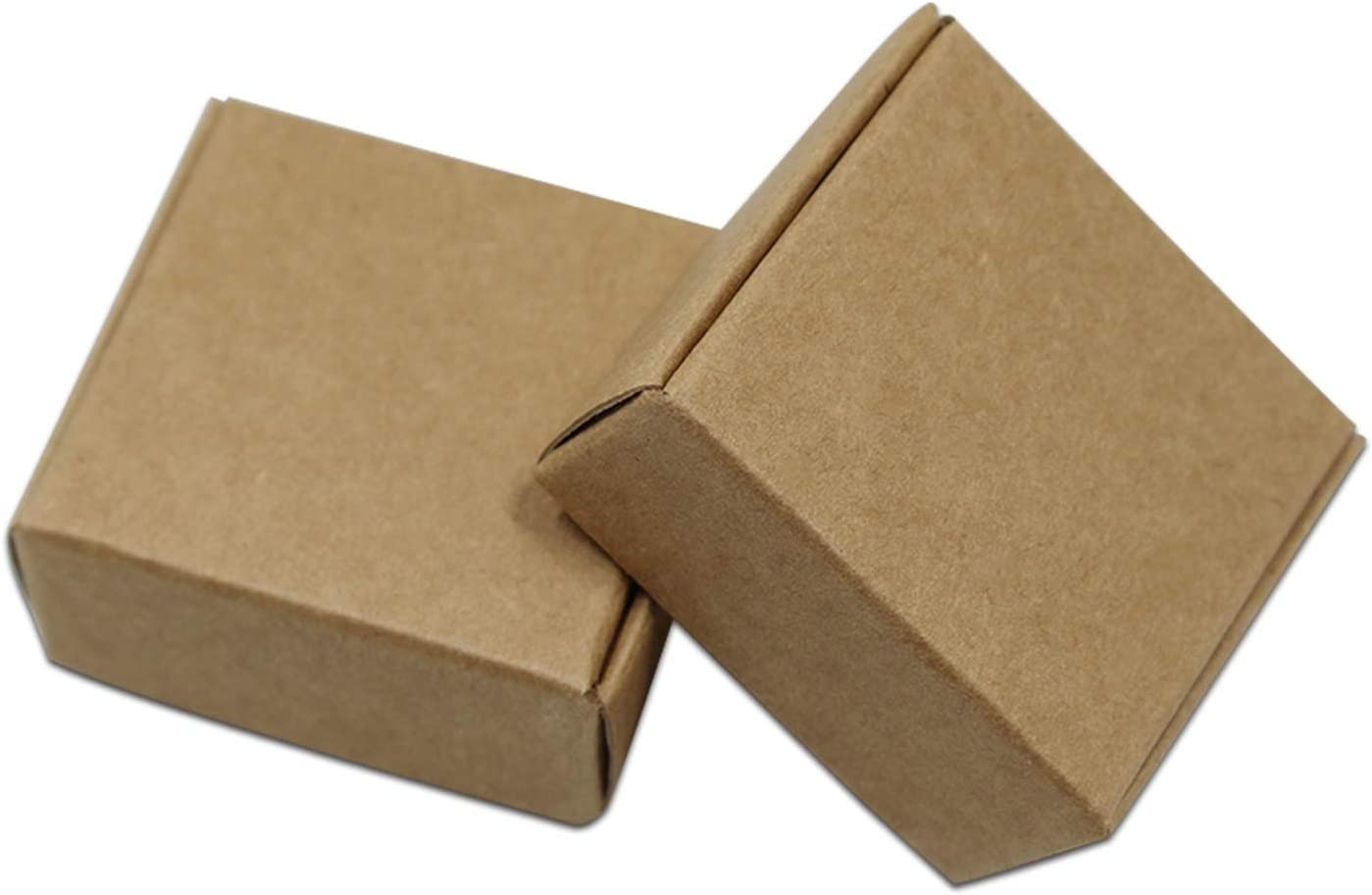 100pcs//Lot Blank Kraft Paper Box Packaging Small Cardboard Handmade Soap Gift Box for Wedding Craft Jewelry Candy Box Folding,3.7x3.7x2cm