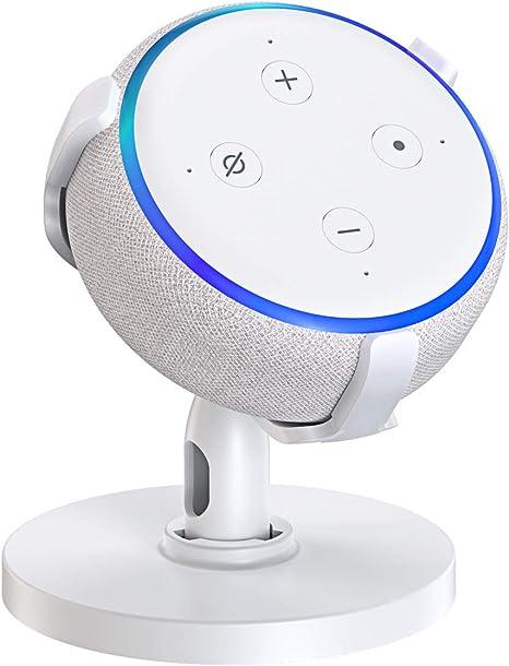 Echo Dot 3rd Generation Table Holder,Desk Holder Improves Sound Visibility and Appearance,360/° Adjustable Stand Mount Bracker Cradle with Rubber Protection for Smart Home Speaker Dot 3rd Black