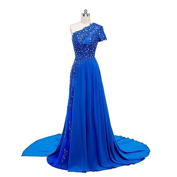 Beauty-Emily Wedding Dresses Royal Blue Ladys Elegant Lace Fashion A line Prom Crustal Party
