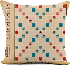 Topyee Throw Pillow Cover 18x18 Inch Game Vintage Gameboard Word Board Family Retro Fun Home Decor Pillowcases Square Pillow Cases Cushion Covers for Sofa Couch Bed
