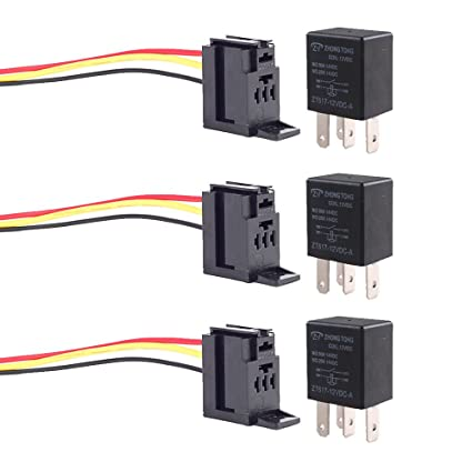 Amazon.com: ESUPPORT 3Pcs Universal Black 30A 12V DC SPST Relay Kit on 4 prong horn relay, 5 prong relay wiring, 4 prong starter relay, 4 pole switch wiring, 4 prong relay harness,