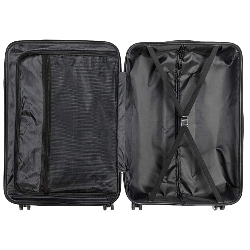 HBean 3 Piece Set Spinner Luggage Expandable Lightweight Travel Hardside Suitcase with TSA Lock Spinner Black
