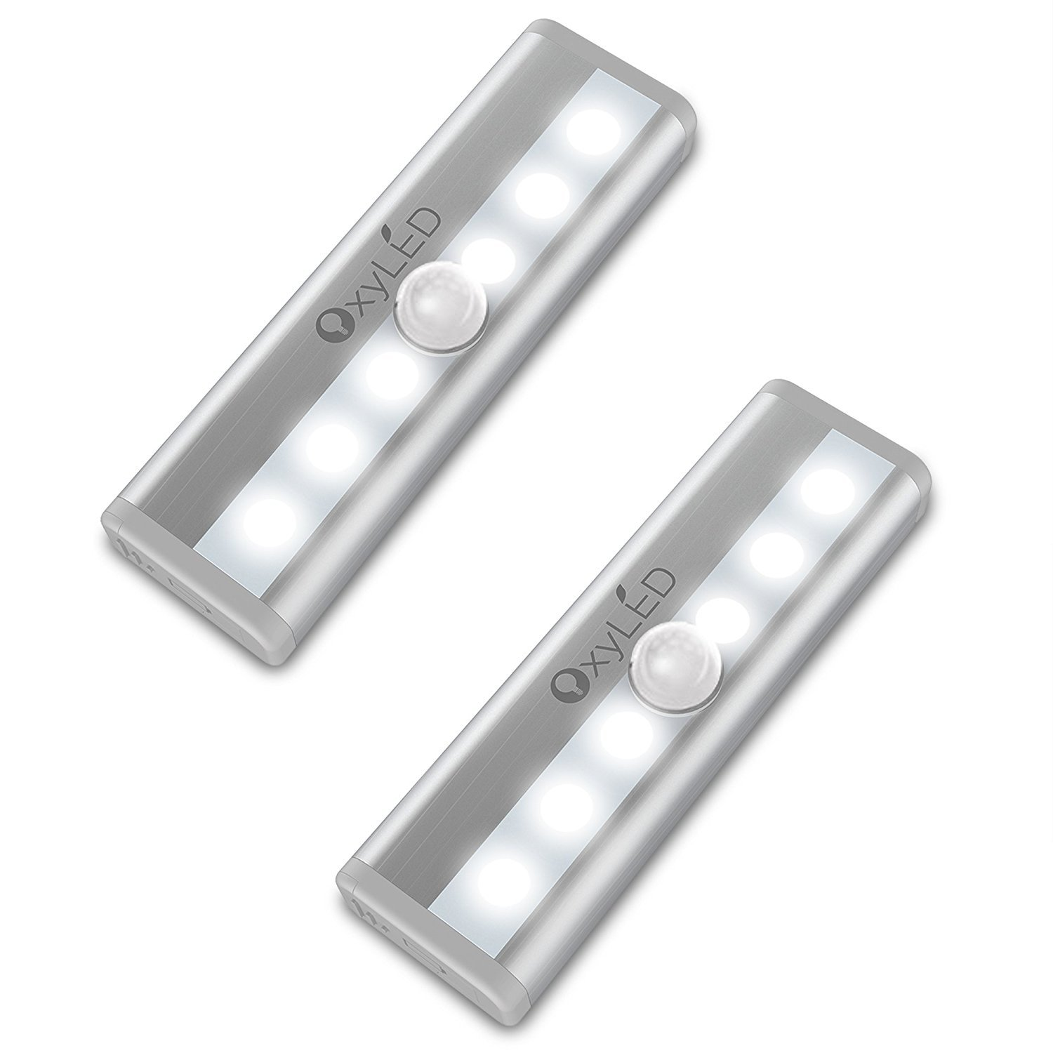 Mini Motion Sensor Lights, OxyLED 6 LED Night Light Bar for Closet Cabinet Wardrobe Ambry Cupboard Drawer Stairs Step, Stick-on Safe Lights Bed Light, 2 Pack, Battery Operated