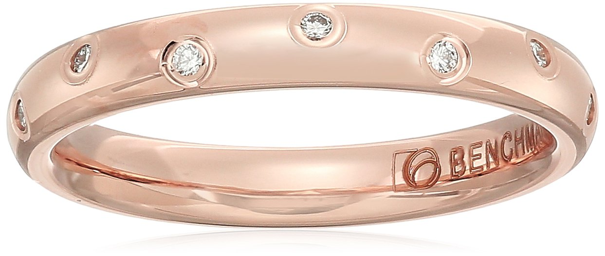 14k Rose Gold 3mm Offset Diamond Band Stackable Ring, Size 8