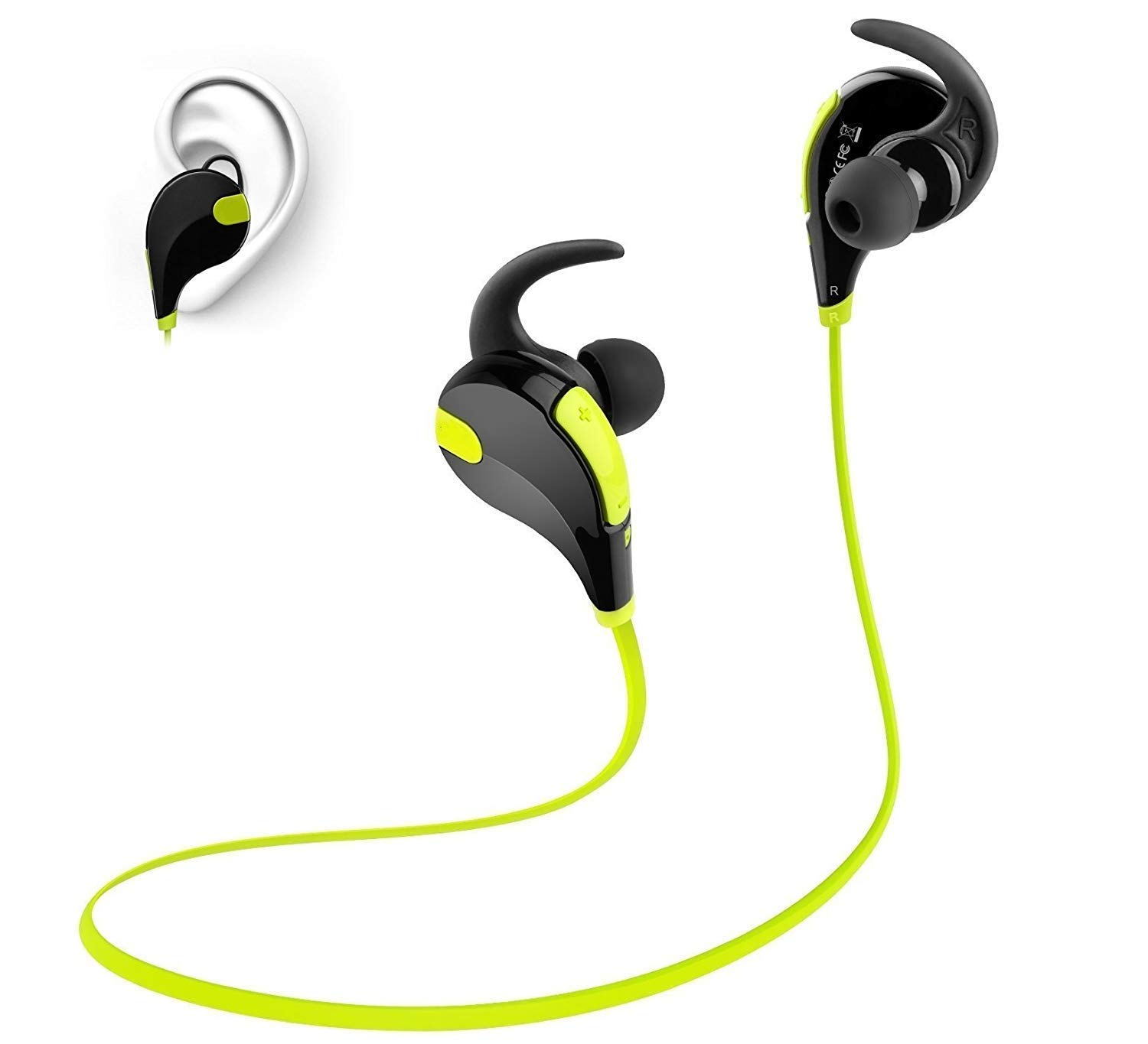Soundpeats QY7 Bluetooth Headset with Mic  Black/Green  In Ear