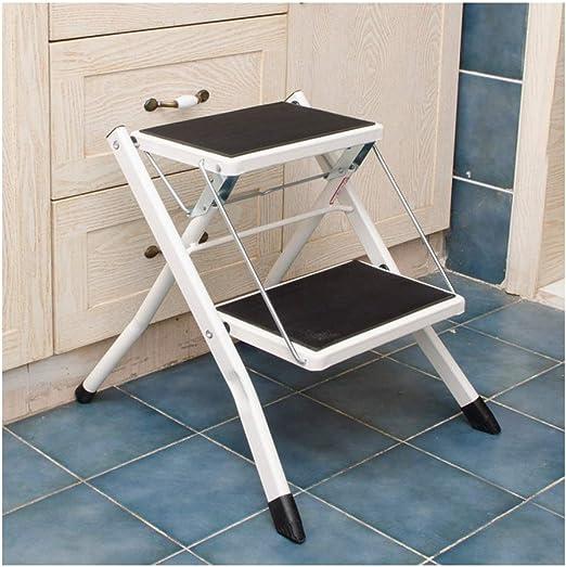 M Home Escalera Móvil Portátil Plegable De Acero Resistente con Alfombrilla Antideslizante (Color : White): Amazon.es: Hogar