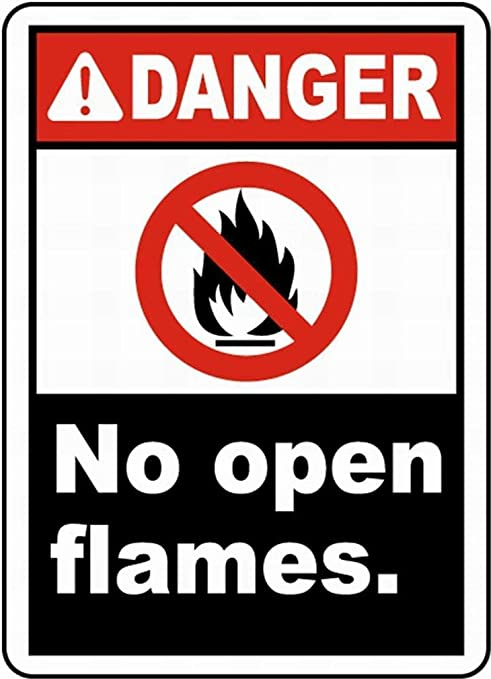 HALEY GAINES Danger No Open Flames Placa Cartel Póster de ...