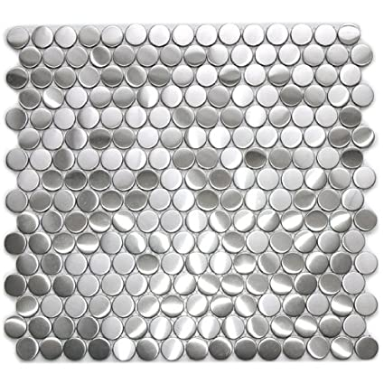 Penny Round Pattern Mosaic Stainless Steel Metal Tile 5 Mm