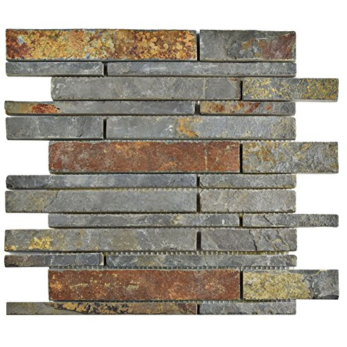 SomerTile SCRGPSS Cliff Grand Piano Sunset Slate Natural Stone Mosaic Floor and Wall Tile, 12
