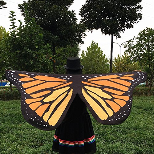 [Mexidi Women's Shawl Soft Fabric Butterfly Wings Fairy Nymph Pixie Scarves Costume Accessory (Orange] (Dachshund Giraffe Costumes)