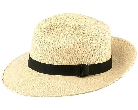 c5b8c2fb24662 San Francisco Hat Company Men s Folding Fedora Packable Panama Hat XS  Natural And Black Band