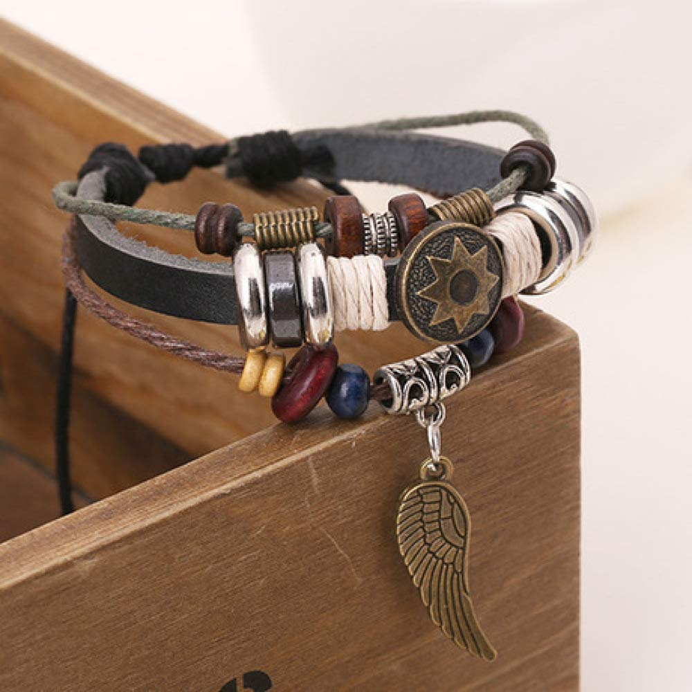 Vintage Wings Beaded Bracelet//Hand-Knitted Leather Bracelet 17-27cm Adjustable yayoushen Mens Leather Bracelet