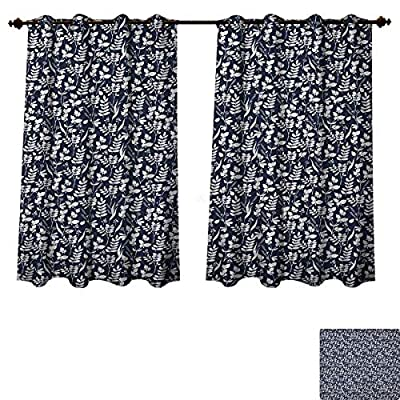 PriceTextile Flower Blackout Thermal Curtain Panel Foliage Leaf Silhouette Pattern on Dark Background Blossoming Nature Design Window Curtain Fabric Dark Blue and White