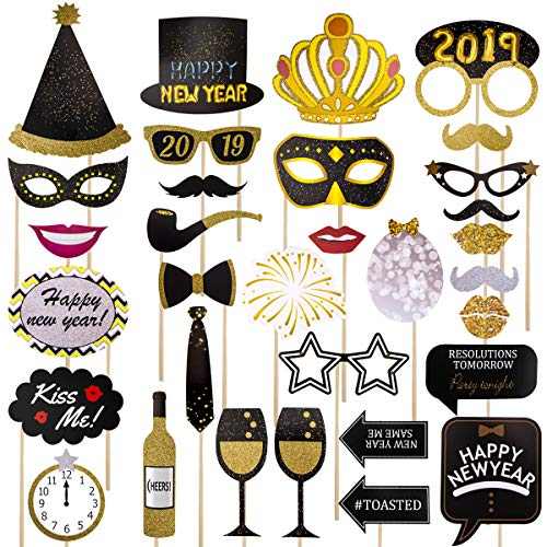 Happy New Year Photo Booth Props32Pcs,2019 New Year Party Pose Sign,New Year Countdown Party Photo Props,New Year Decoration