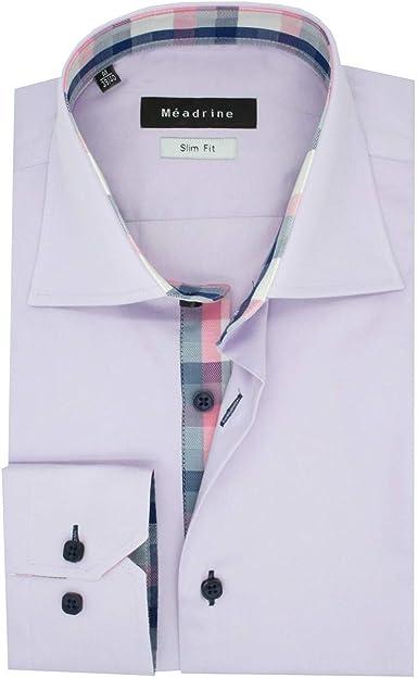Camisa Hombre Slim Fit Lila Claro Col 1 botón Dobles Azulejos Rosa-Blanco-Azul Marino algodón Puro: Amazon.es: Ropa y accesorios