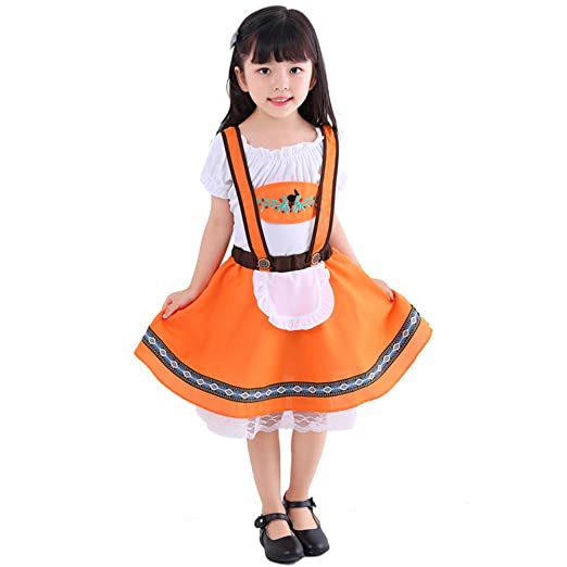 3e75743fa Girls Oktoberfest Costume Kids German Bavarian Uniform Outfit Ruffle Top +  Suspenders Skirt 2Pcs Set Beer