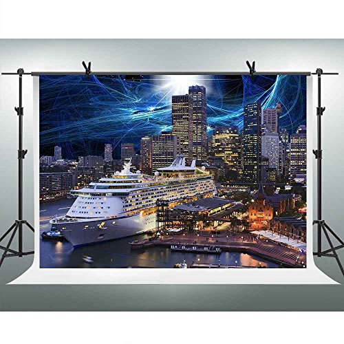 FHZON 10x7ft Prosperous City Night Scene Backdrop High-rise Building Skyscrapers Passenger Ship Blue Light Sky Photography Background Themed Party YouTube Backdrop Photo Booth Studio Props PFH015