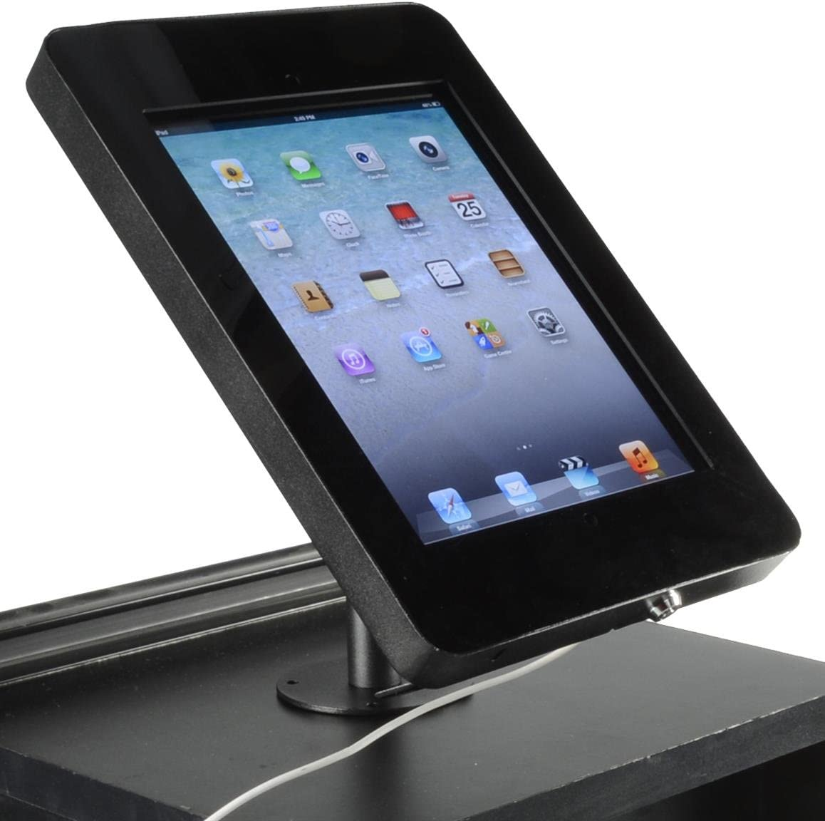 Enclosure for iPad, Hidden Home Button, 360-degree Rotation, Tablet Stand Bolts to Table (Black Steel)