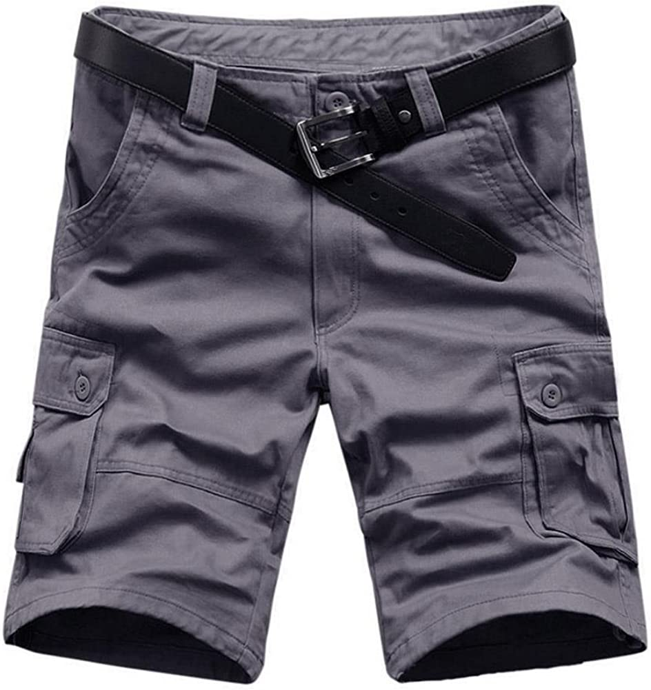 AKARMY Men's Lightweight Cargo Shorts,Relaxed Fit Casual Multi-Pocket Outdoor Cotton Shorts