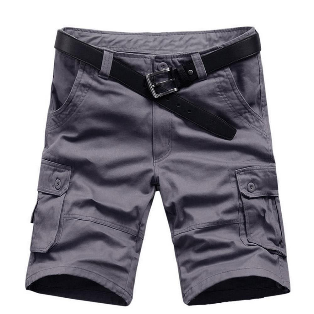 AKARMY Must Way Men's Plus Size Relaxed Fit Casual Cotton Cargo Shorts 01# Gray 42