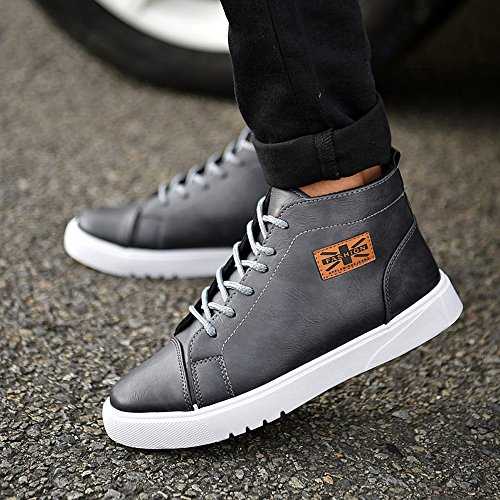 pelle amp;Baby Up Nero Casual in Sneakers Top Martin all'abrasione scarpe suola High Color PU piatta Lace Sunny Gray Resistente EU uomo mocassini Dimensione 43 46dwH6q